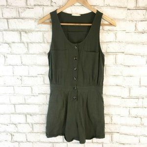 Altar'd State Women's Olive Green Gathered Romper